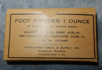 Original Wwii Us Army 5 Packet Box, 1 Ounce Foot Powder
