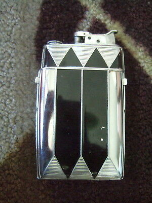 1930's Evans Art Deco Machine Age Sublime Cigarette Case & Lighter Enameled 4.5""