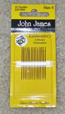 JOHN JAMES EMBROIDERY NEEDLES 16 SIZE 5//10  SEWING CRAFTS PEBBLE JJP 13550
