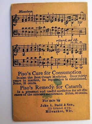Stars And Stripes Forever Song Book Piso's Cure Remedy Catarrh Consumption 1899