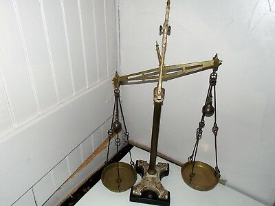 """Antique """"j.white & Son"""" 34 1/2"""" Tall Brass & Iron Balance Scale-Weighs 22 Lbs"""