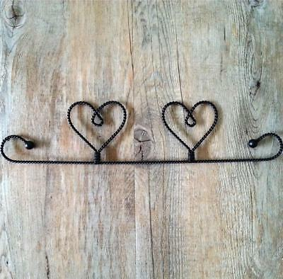 """12"""" (30cm) black twisted wire two hearts tab top mini quilt / wallhanging hanger"""