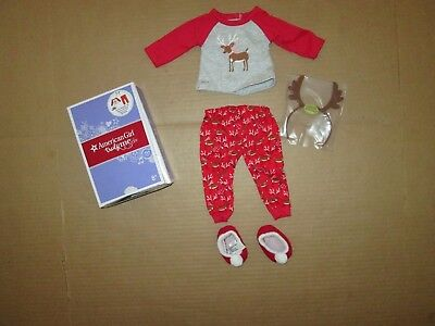 Authentic AMERICAN GIRL DOLL FESTIVE REINDEER PJ'S PAJAMAS CLOTHES NEW Lanie