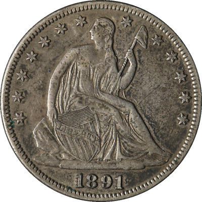 1891 LIBERTY SEATED HALF DOLLAR rare date LOW MINTAGE