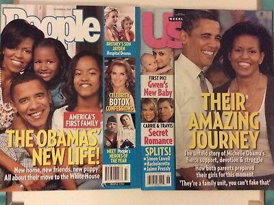 2008 US and People Magazines Michelle and Barack Obama and Family