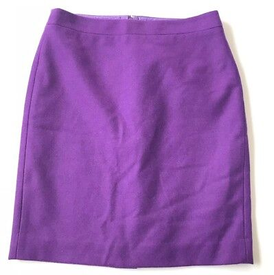 3693dc7093 J Crew The Pencil Skirt Womens Size 8 Purple Double Serge Wool Career Back  Vent