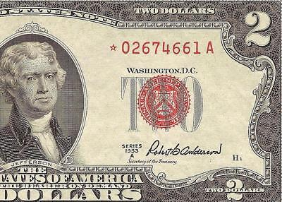 Star 1953 A $2 Dollar United States Legal Tender Red Seal Note Old Paper Money