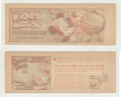 "MICKEY MOUSE ""MOANING MOUNTAIN"". 1954 Cheerios 3-D comic book"
