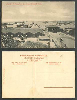 Ceylon Old Postcard Colombo Harbour from Grand Oriental Hotel, Ships Boats Carts
