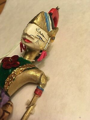 Vintage Mini Small Wayang Doll Indonesian Wood Puppet Golek Asian 1980s Gold Old