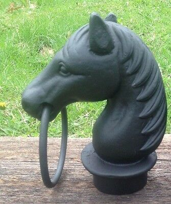 Cast Iron Single Horse Head With Ring Topper for Hitching Post  Painted Black