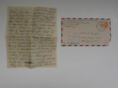WWII Letter 1944 359th Infantry Cannon Co. Censored Mail St. Louis Missouri WW2