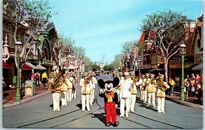 Vintage DISNEYLAND CA Postcard MICKEY MOUSE Leading Band Down Main Street c1960s