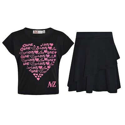 Kids Girls Tops New Love Black Crop Top & Double Layer Skater Skirt Set 7-13 Yrs