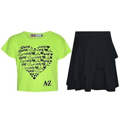 Kids Girls Tops New Love Neon Green Crop Top & Double Layer Skater Skirt Set