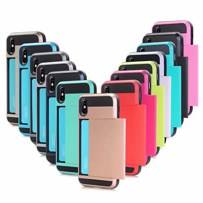 Credit Card Holder Shockproof Wallet Case Cover For iPhone X/XR/XS MAX/7/8/6S +
