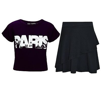 Kids Girls Tops Paris Purple Crop Top & Double Layer Skater Skirt Set 7-13 Years