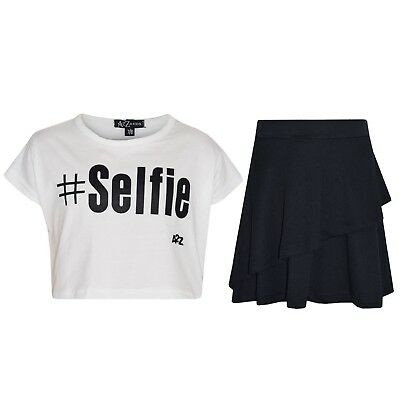Kids Girls Tops #Selfie White Crop Top & Double Layer Skater Skirt Set 7-13 Year
