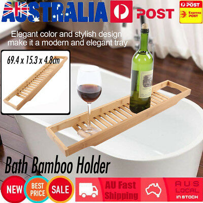 Wooden Bamboo Bath Caddy Wine Glass Holder Tray Over Bathtub Rack Support AU