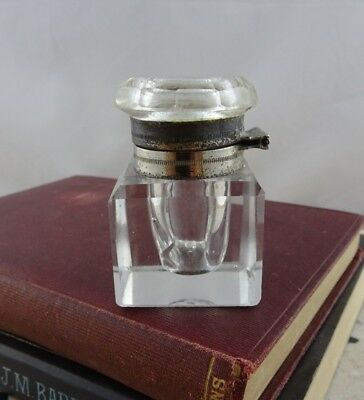 Small Vintage Glass Inkwell with Hinged Metal Lid