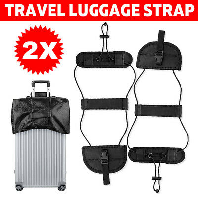 2X Add A Bag Strap Travel Luggage Suitcase Adjustable Belt Carry On Bungee AD