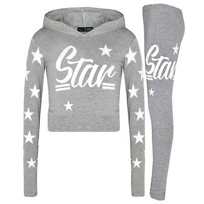 Girls Tops Kids Star Print Grey Hooded Crop Top & Legging Lounge Wear Set 7-13Yr