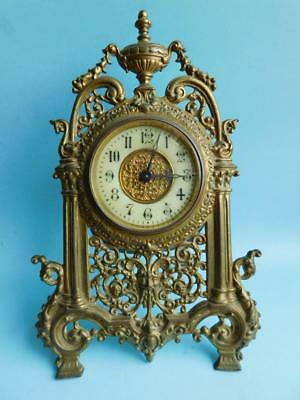 Beautiful Ornate French Antique Brass Open Framed Mantle Clock 1880s