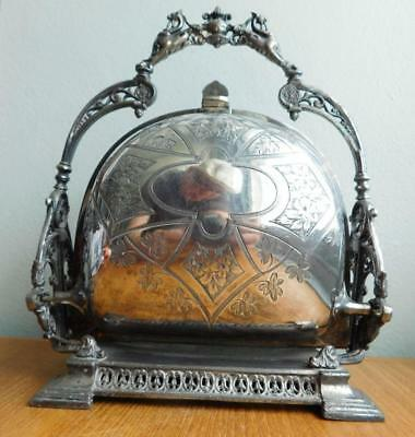 Silver Plated Muffineer Shell Form Biscuit Box Phillip Ashberry & Sons 1880s