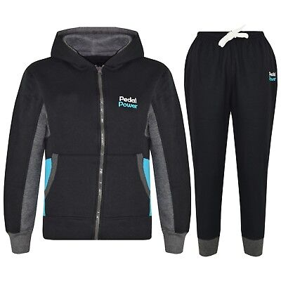 Kids Girls Tracksuit Black Designer Pedal Power Zipped Top Bottom Jogging Suits