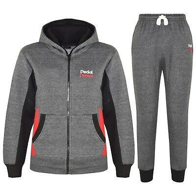 Boys Tracksuit Charcoal Designer's Pedal Power Zipped Top Bottom Jogging Suits