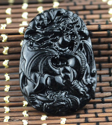 Amulet jadeite pendant necklace black green jade Chinese natural beast(麒麟)