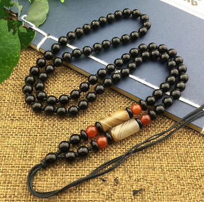 Amulet agate Beaded Rope Natural JADE Necklace  New  stone  Black Obsidian Beads