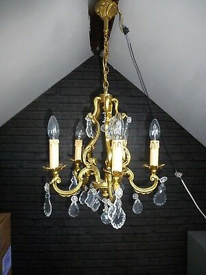 Gorgeous Vintage French 5 Light  Bronze & Crystal Cage Chandelier