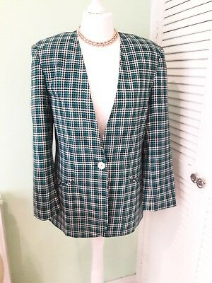 Womens Vintage 1980s Blue Teal Check Jacket Size 12/14