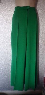 Vintage Original St Michael Acrylic Polyester Green Flares    Size 12