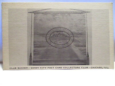 1940s POSTCARD CLUB BANNER,WINDY CITY POST CARD COLLECTOR'S CHICAGO IL