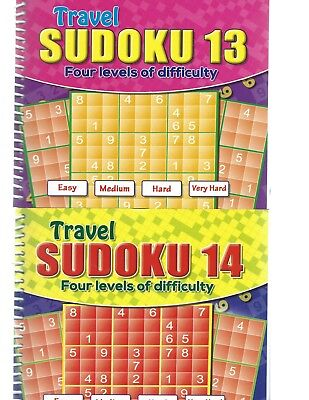 2 Travel Sudoku Books A5 Size 4 Levels Books 13-14 With 171 Puzzles In Each