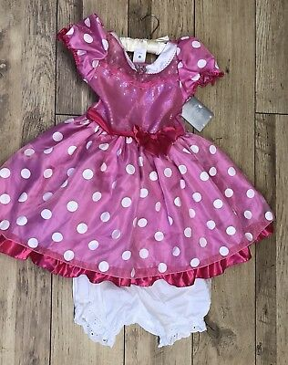 Disney Store Girls Minnie Mouse Costume Dress Up with Blomers Age 7/8 Years