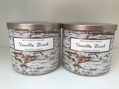 2 New Bath & Body Works Candle 14.5 oz Vanilla Birch 3 Wick 2018