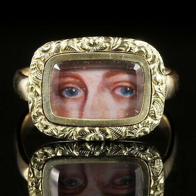 Antique Victorian Lovers Eye Ring Circa 1880 9Ct Gold