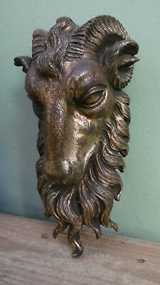 SUPERB 19thc ARCHITECTURAL GILT BRONZE  MOUNT FIXTURE OF A CURLY HORNED RAM (2)