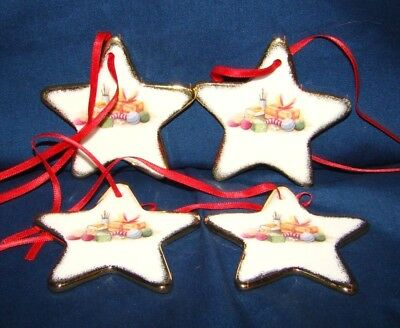 Royal Albert Old Country Roses 4 Star Christmas Ornaments