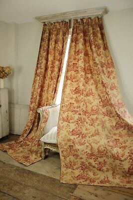 2 set Toile de Jouy curtains drapes red vintage  Antique French tieback tie back