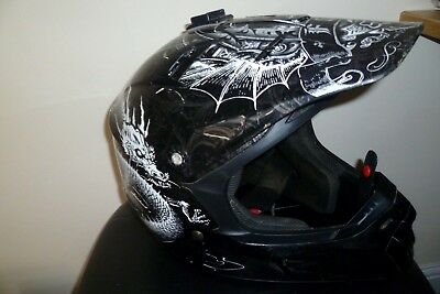 Fox V1 Pilot Motocross Helmet Size Uk Large Black With Dragon/tribal Graphics