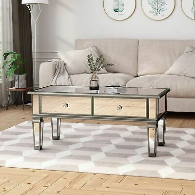 Janet Modern Mirrored Coffee Table With Drawers Tempered
