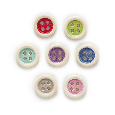50pcs 4 Hole Multi-Color Round Wood Buttons Home Decor Sewing Scrapbooking 15mm