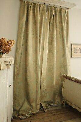 Silk damask curtains green gold French c1920's old vintage drapes pair textiles