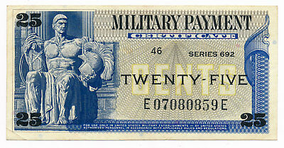 US  MPC Militray Payment Certificate 25 Cents ND.1970 M.93 Series 692 aUNC Note