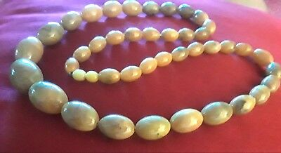 """VERY RARE Large Antique Baltic green amber necklace  29"""", 40.4 gr. It floats."""