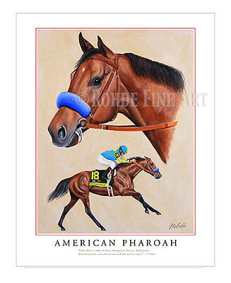 AMERICAN PHAROAH horse racing LIMITED EDITION ART portrait painting 8x10 Rohde
